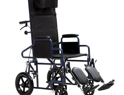 Silla ruedas respaldo reclinable con accesorios